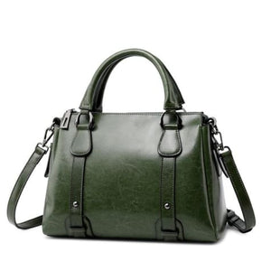 Vegan Oil Waxed Leather Casual Shoulder Crossbody Bag Green
