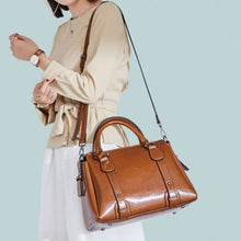 Load image into Gallery viewer, Vegan Oil Waxed Leather Casual Shoulder Crossbody Bag Brown