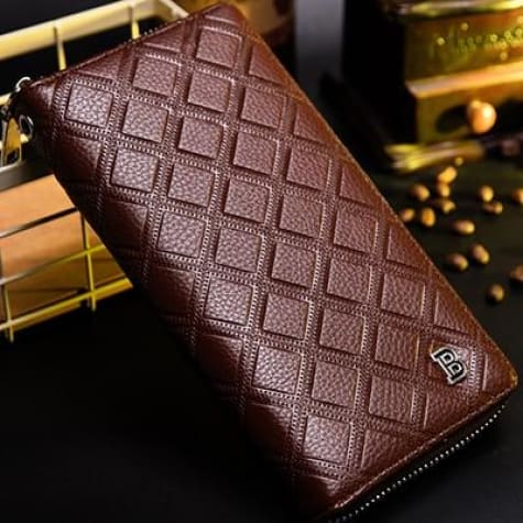 Verdiago Authentic Leather Long Large Capacity Zipper Wrist Wallet /clutch Coffee Premium Leather