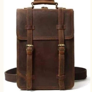 Vintage Brown Leather Backpack Messenger Bag with Shoulder Strap Premium Leather