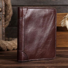 Load image into Gallery viewer, Vintage Brown Vegan Oil Polished top Grain Leather Bifold Short Wallet Premium Leather