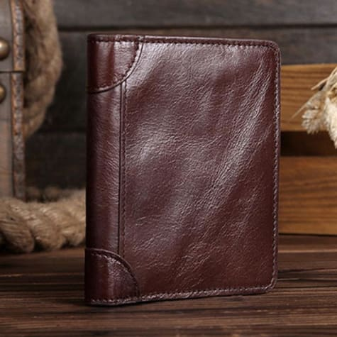 Vintage Brown Vegan Oil Polished top Grain Leather Bifold Short Wallet Premium Leather