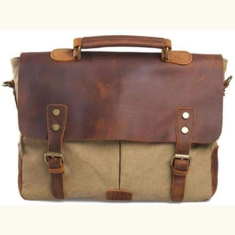Vintage Canvas & Leather Backpack,travel Bag Khaki Premium Leather