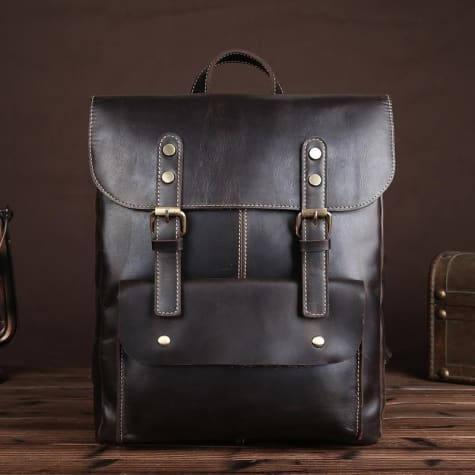 Vintage Crazy Horse Leather Backpack/multi-functional Unisex Backpack Premium Leather
