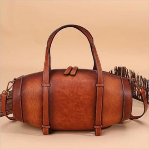 Vintage Handcrafted Leather Box Handbag and Tote Qwh5048 Brown Premium Leather