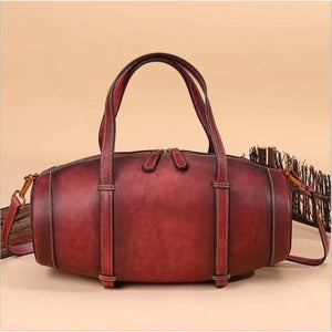 Vintage Handcrafted Leather Box Handbag and Tote Qwh5048 Red Premium Leather