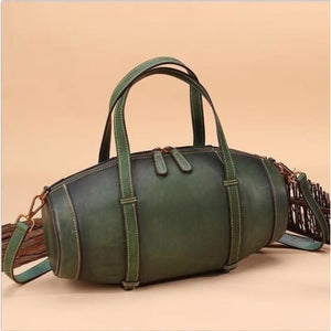 Vintage Handcrafted Leather Box Handbag and Tote Qwh5048 Green Premium Leather