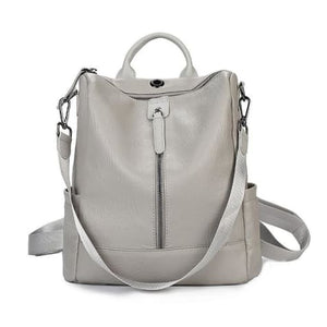 Vintage Leather Backpack / Daypack and Shoulder Bag Gray Premium Leather