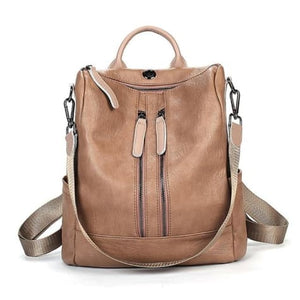 Vintage Leather Backpack / Daypack and Shoulder Bag Khaki 2 Premium Leather