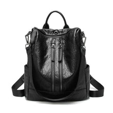 Load image into Gallery viewer, Vintage Leather Backpack / Daypack and Shoulder Bag Black 2 Premium Leather
