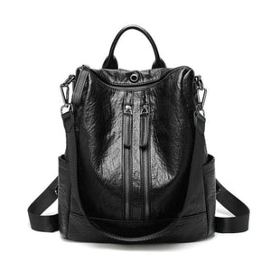 Vintage Leather Backpack / Daypack and Shoulder Bag Black 2 Premium Leather