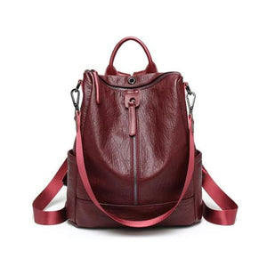Vintage Leather Backpack / Daypack and Shoulder Bag Red Premium Leather