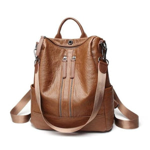 Vintage Leather Backpack / Daypack and Shoulder Bag Brown 2 Premium Leather