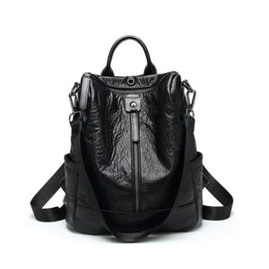 Vintage Leather Backpack / Daypack and Shoulder Bag Black Premium Leather