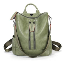 Load image into Gallery viewer, Vintage Leather Backpack / Daypack and Shoulder Bag Green 2 Premium Leather