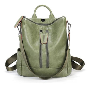 Vintage Leather Backpack / Daypack and Shoulder Bag Green 2 Premium Leather