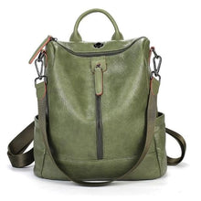 Load image into Gallery viewer, Vintage Leather Backpack / Daypack and Shoulder Bag Green Premium Leather