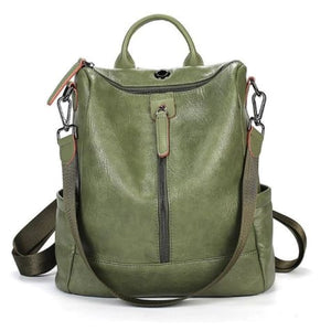 Vintage Leather Backpack / Daypack and Shoulder Bag Green Premium Leather