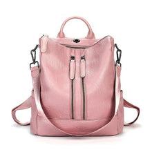 Load image into Gallery viewer, Vintage Leather Backpack / Daypack and Shoulder Bag Pink 2 Premium Leather