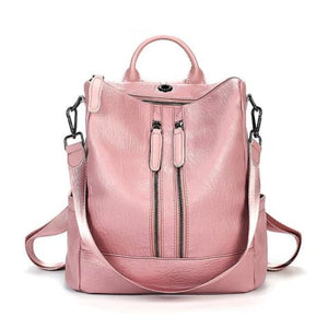 Vintage Leather Backpack / Daypack and Shoulder Bag Pink 2 Premium Leather