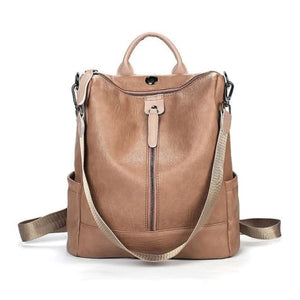 Vintage Leather Backpack / Daypack and Shoulder Bag Khaki Premium Leather