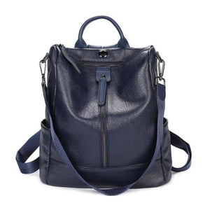 Vintage Leather Backpack / Daypack and Shoulder Bag Blue Premium Leather
