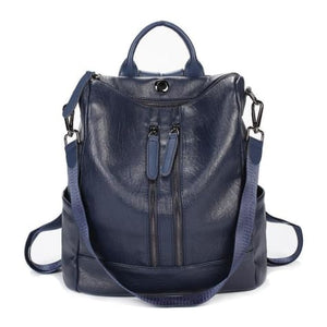 Vintage Leather Backpack / Daypack and Shoulder Bag Blue 2 Premium Leather