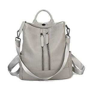 Vintage Leather Backpack / Daypack and Shoulder Bag Gray 2 Premium Leather