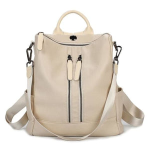 Vintage Leather Backpack / Daypack and Shoulder Bag Beige 2 Premium Leather