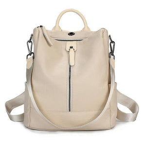 Vintage Leather Backpack / Daypack and Shoulder Bag Beige Premium Leather