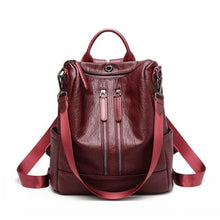 Load image into Gallery viewer, Vintage Leather Backpack / Daypack and Shoulder Bag Red 2 Premium Leather