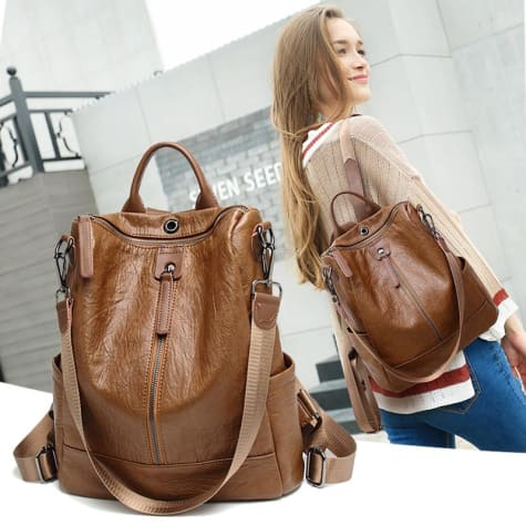 Vintage Leather Backpack / Daypack and Shoulder Bag Brown Premium Leather