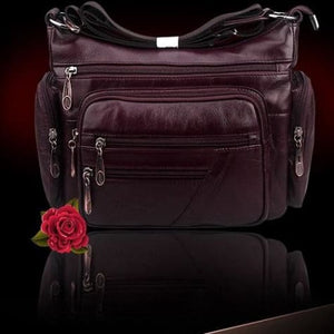 Vintage Leather Shoulder Bag for Women Burgundy Premium Leather
