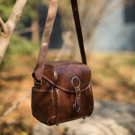 Vintage Polished Leather Dslr Camera Bag and Purse Premium Leather