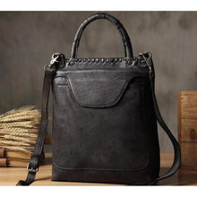 Load image into Gallery viewer, Vintage Women's Leather Messenger & Crossbody Bag Grey Black Premium Leather