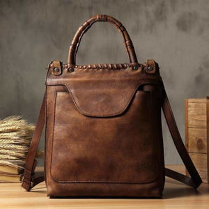 Vintage Women's Leather Messenger & Crossbody Bag Brown Premium Leather