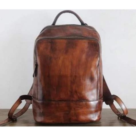 Vouge Whipping Leather Backpack Coffee Premium Leather