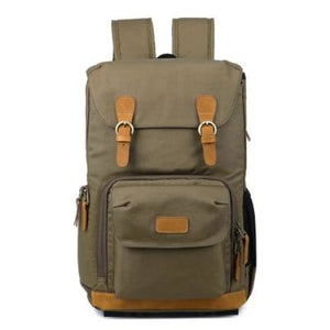 Waterproof Canvas Backpack and Dslr Camera Bag Green Premium Leather