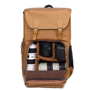 Waterproof Canvas Backpack and Dslr Camera Bag Premium Leather