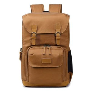 Waterproof Canvas Backpack and Dslr Camera Bag Khaki Premium Leather
