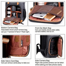 Load image into Gallery viewer, Waterproof Canvas Backpack and Dslr Camera Bag Premium Leather