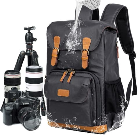 Waterproof Canvas Backpack and Dslr Camera Bag Gray Premium Leather