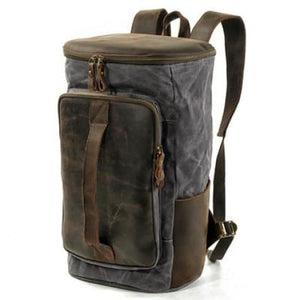 Waterproof Leather & Canvas Dslr Camera Backpack/shoulder Bag Dark Grey Premium Leather