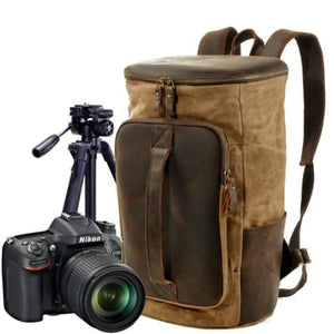 Waterproof Leather & Canvas Dslr Camera Backpack/shoulder Bag Khaki Premium Leather