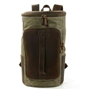 Waterproof Leather & Canvas Dslr Camera Backpack/shoulder Bag Army Green Premium Leather