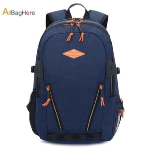 Waterproof Nylon Camping Travel Backpack Blue 2 Premium Leather