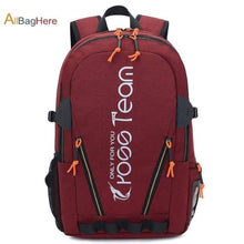 Load image into Gallery viewer, Waterproof Nylon Camping Travel Backpack Red Premium Leather