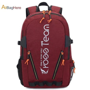 Waterproof Nylon Camping Travel Backpack Red Premium Leather