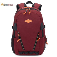 Load image into Gallery viewer, Waterproof Nylon Camping Travel Backpack Red 2 Premium Leather