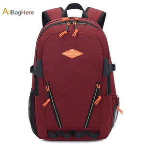Waterproof Nylon Camping Travel Backpack Red 2 Premium Leather